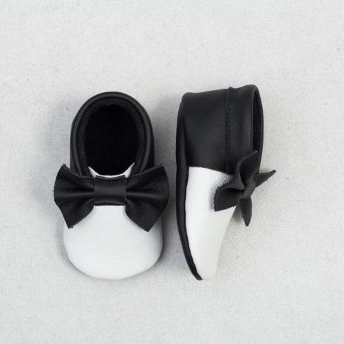 Baby Moccasins Handmade from Leather - black and white