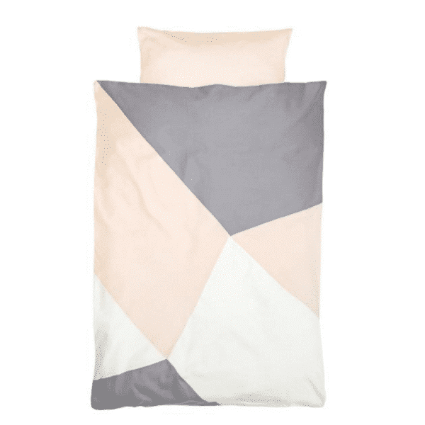 Kids Doona Cover Set peach and greay consisting of doona cover and pillowcase by Fabelab