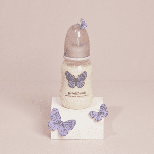 Plastic Baby bottle or milk bottle with a butterfly on it
