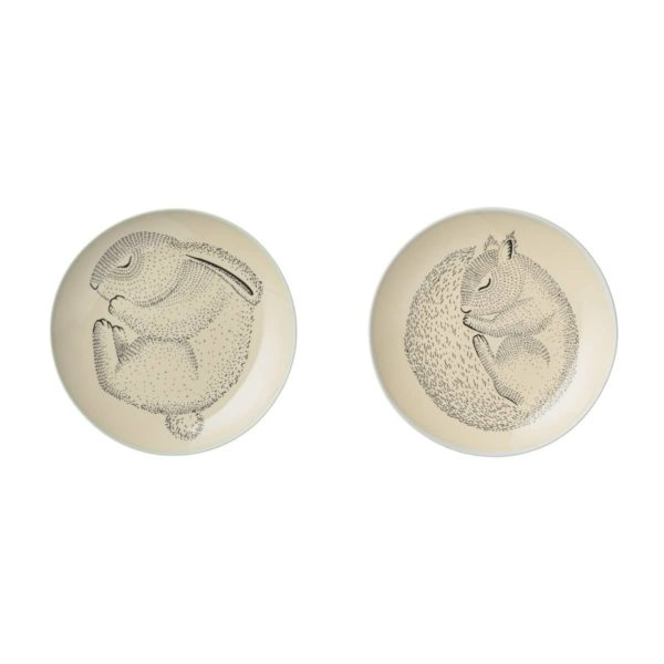 Set of 2 Kids Plates by Bloomingville with a Squirrel and Bunny
