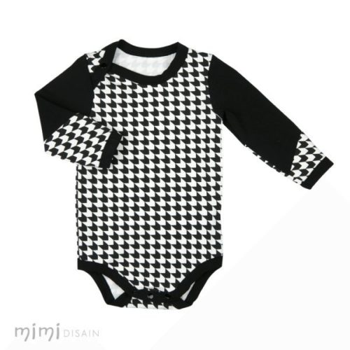 Baby bodysuit black and white geometrical pattern long sleeves