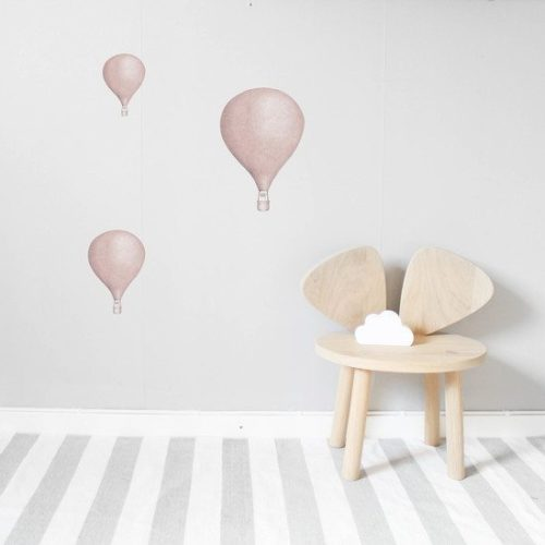 Kids Wall Stickers Hot Air Balloon Set Pink