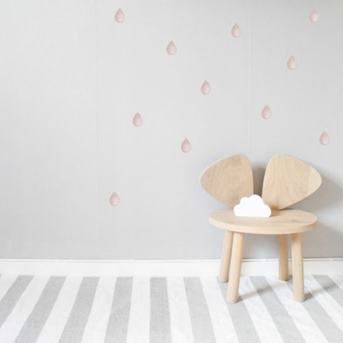 Nursery Wall Stickers pink raindrops