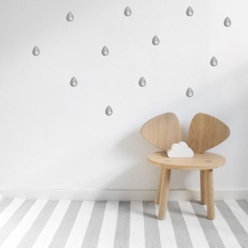 Nursery Wall Stickers for Kids - Graphite Grey Drops