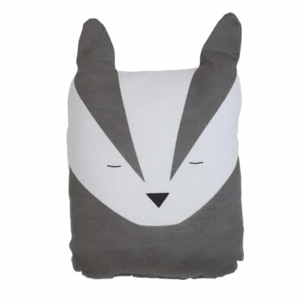 Badger Animal Cushion for the Nursery - Grey and white