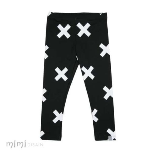 kids leggings black and white crosses