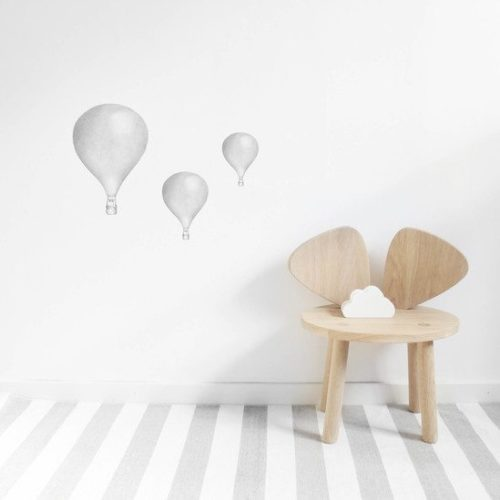 Kids Wall Stickers Light GRey Set of 3 Hot Air Balloons