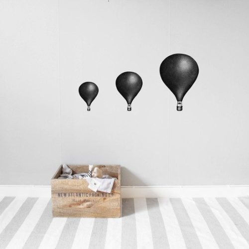 Kids Wall Stickers Hot Air Balloon Black set of 3