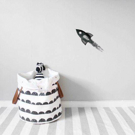 Kids Bedroom Wall Sticker Nearly Black Rocket