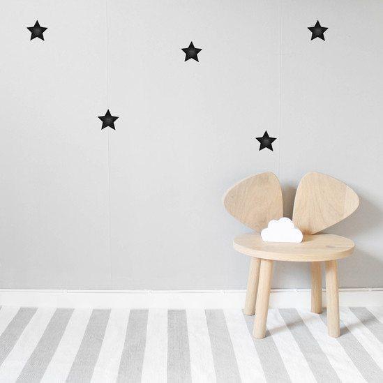 Nearly black stars kids wall sticker set in nursery