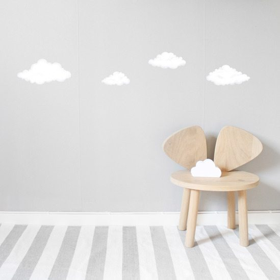high quality kids wall stickers - white clouds | nordlife australia