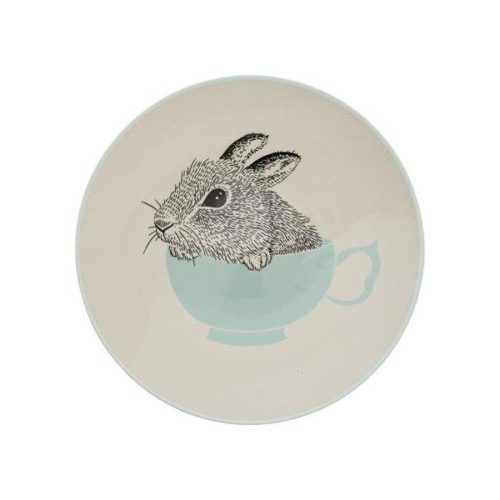 Ceramic Kids Plate with a bunny in a cup by Bloomingville