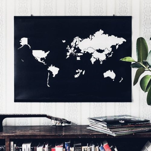 World Map Sticker Poster for Gift Black and White