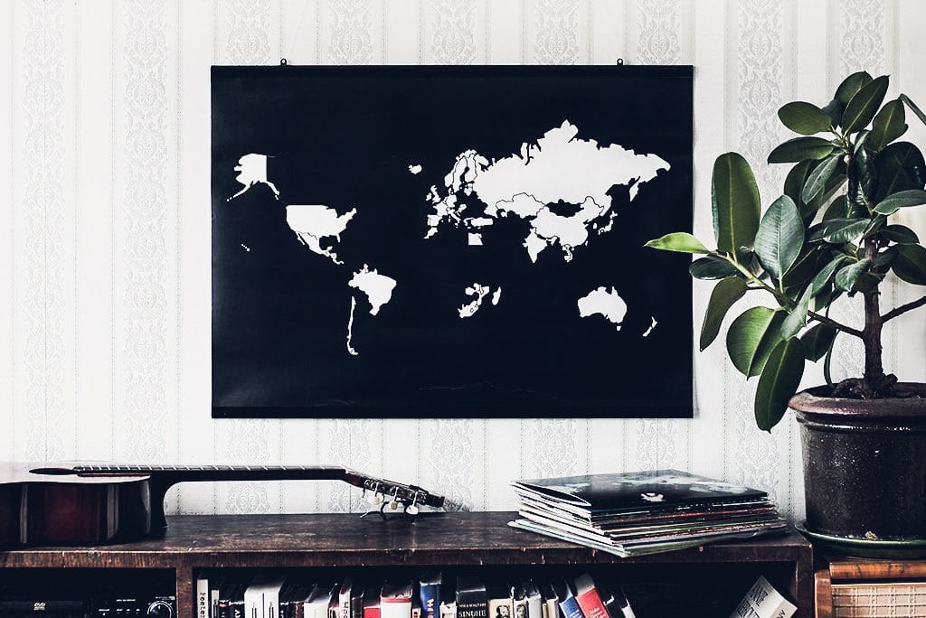 Wall print go world sticker poster nordlife australia world map sticker poster for gift black and white gumiabroncs Choice Image