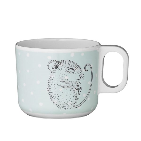 Kids Melamine Cup blue and white with a mouse on it