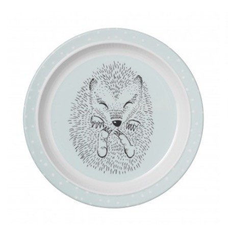 Kids Melamine Blue Plate with a hedgehog on it