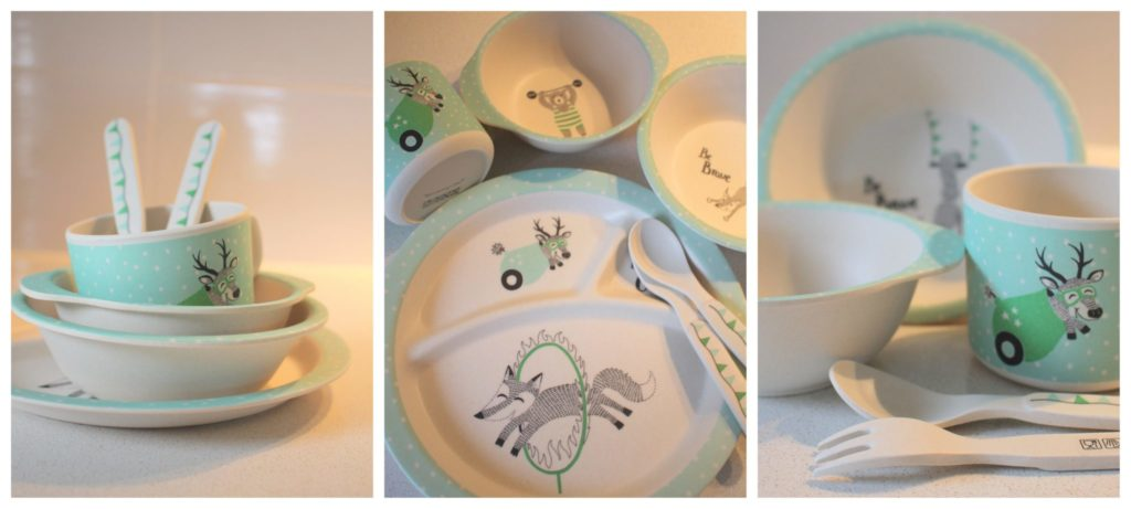 Bamboo Kids Dinnerware with plates, cups, cutlery and more