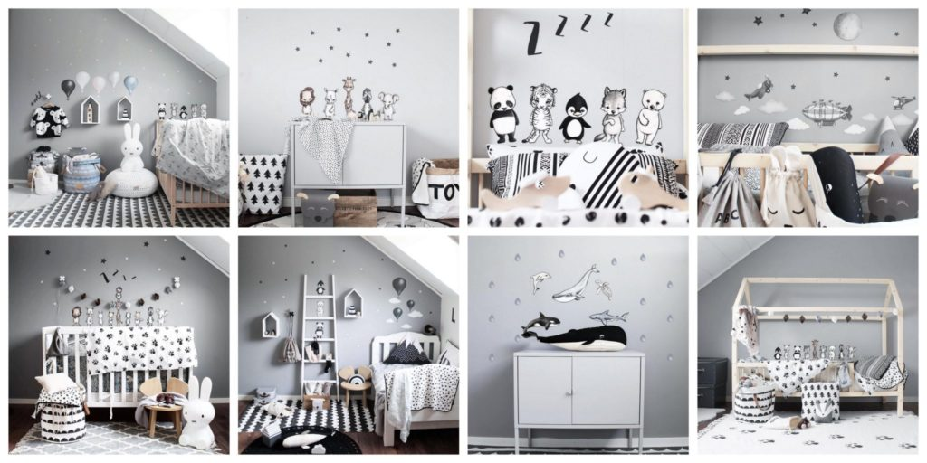 Mosaic of Nursery Wall Sticker images - balloon stickers, animal stickers, clouds, ocean