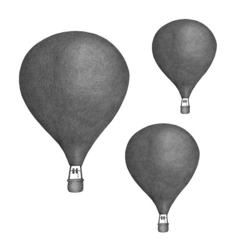 Dark grey hot air balloon wall sticker set