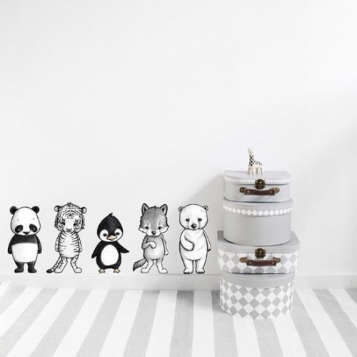 Removable Kids Wall Stickers - Dream Animals, panda, tiger, penguin, wolf and polar bear