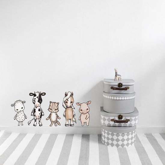 Farmhouse Animals Wall Stickers for Kids Bedroom - sheep, cow, cat, horse and pig stickers
