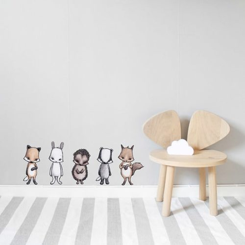 Reusable Kids Wall Stickers - Forest Animals, fox, rabbit, hedgehog, squirrel