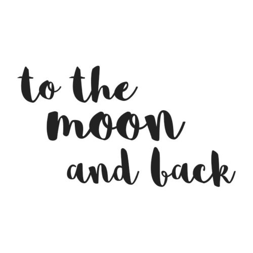 To the moon and back black wall decal for kids bedrooms and nursery