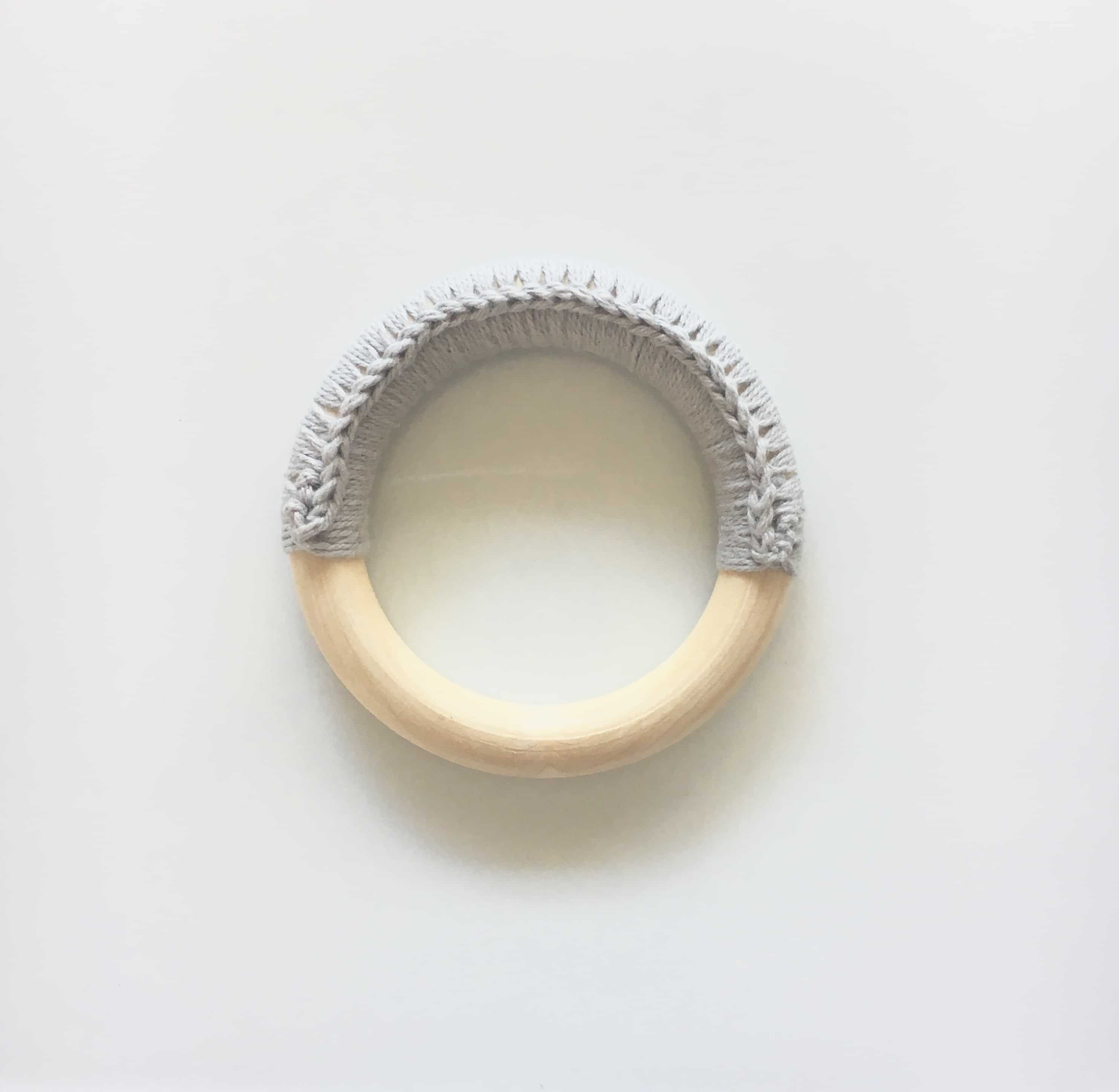 Wooden Teething ring with yarn