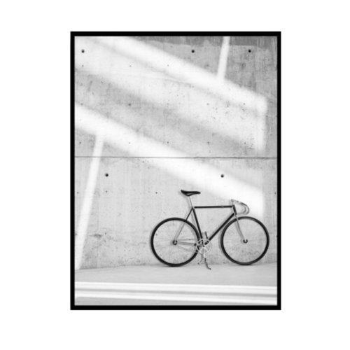 Black and white Wall Print of a bicycle