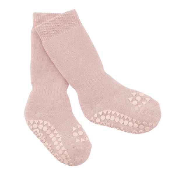Non-slip baby socks in dusty rose colour