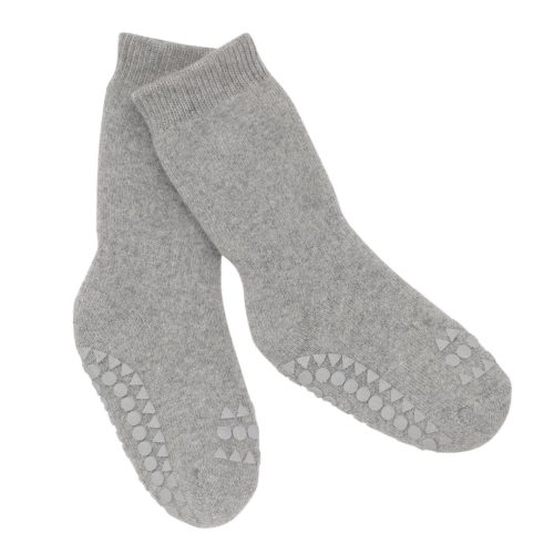 Non-slip baby socks in grey melange colour