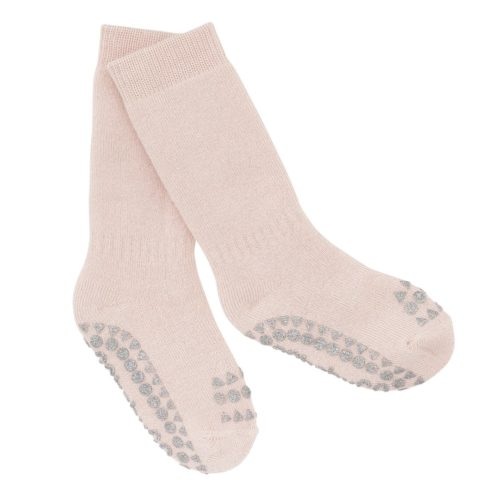 Non-slip baby socks in soft pink glitter colour