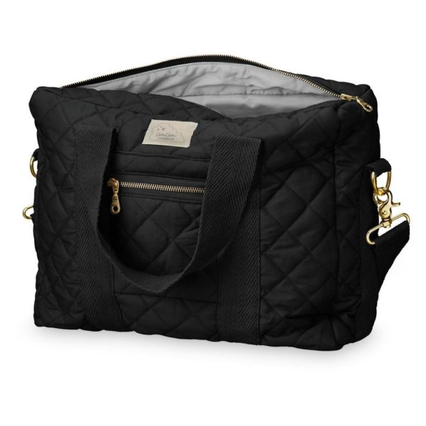 Black Nappy Diaper Nursing bag with golden zipper