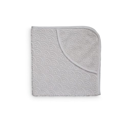 Hooded baby bath towel in grey wave