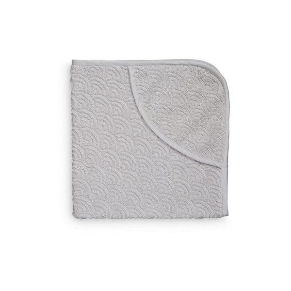 Hooded baby bath towel in grey wave