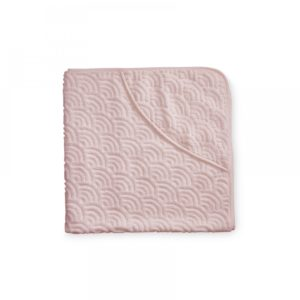 Hooded baby wave towel in off white