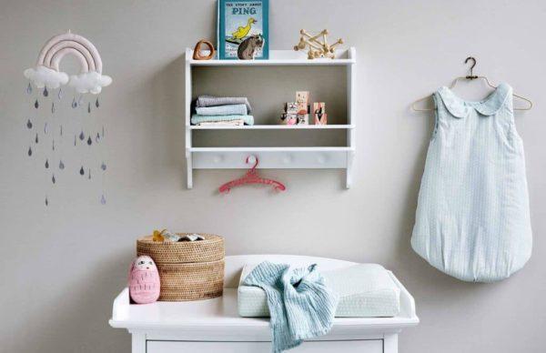 Nursery featuring organic cotton muslin cloth in blush
