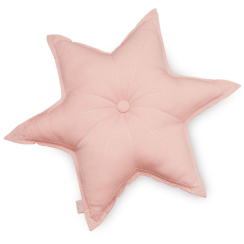 Decorative star shaped cushion for the nursery in old rose