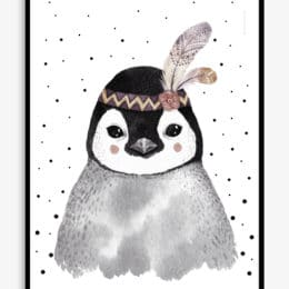 image of cute penguin with red cheeks wearing a feather on its head for children's bedroom