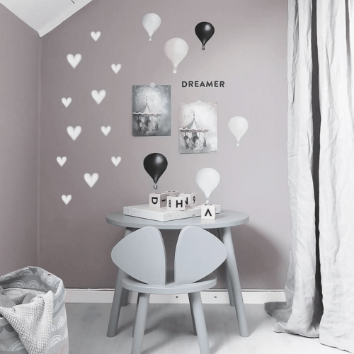 Stickstay big and small grey hearts nursery wall stickers decals for kids bedrooms