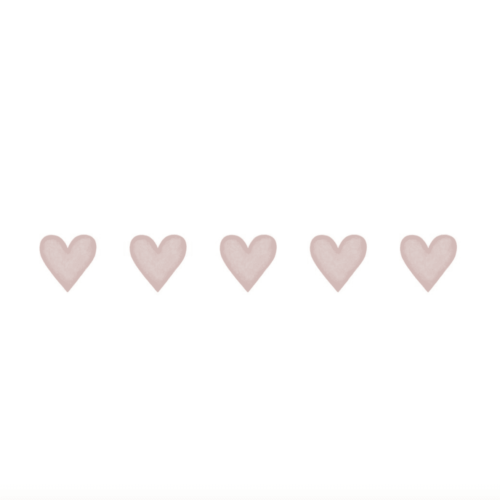 Dusty Pink Big Hearts wall decals for nursery
