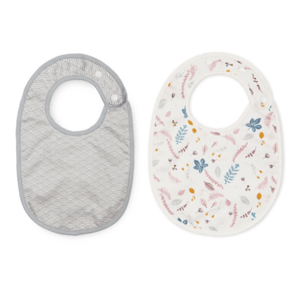 Pack of 2 baby bibs featuring peacock grey and pressed leaves bibs