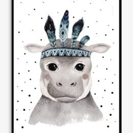 big eyed hippo poster for kids bedrooms