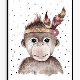 print of monkey with feather and flower on its head