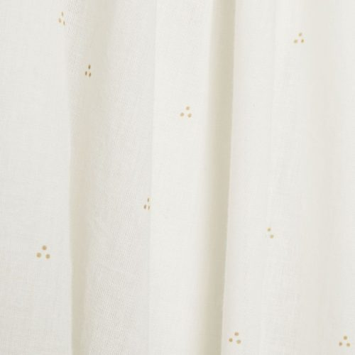 Dot creme gold bed canopy for nursery fabric details