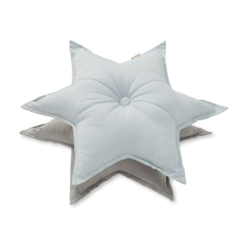 Decorative star cushions in blue mist and grey