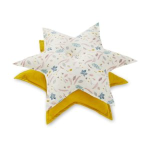 Decorative star cushions featuring pressed leaves rose