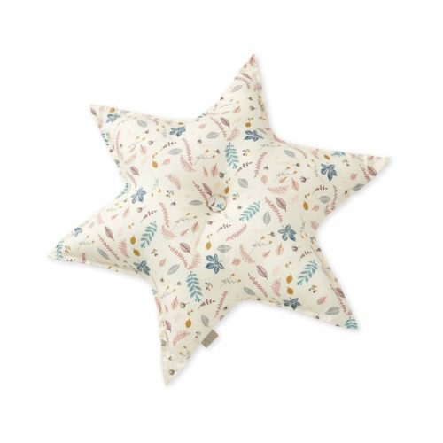 Decorative star cushion in pressed leaves rose