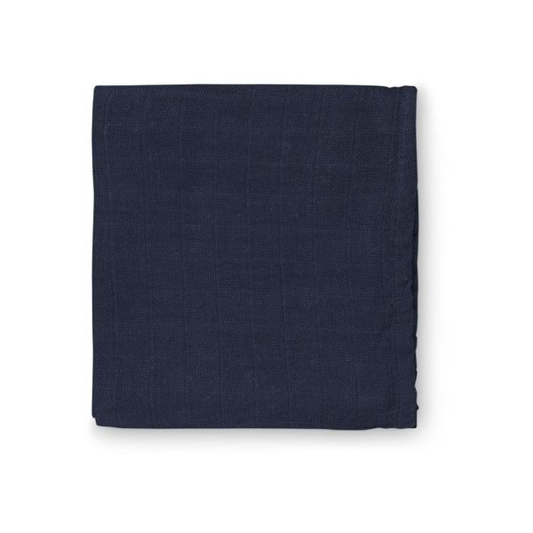 Navy blue organic muslin cloth fabric details