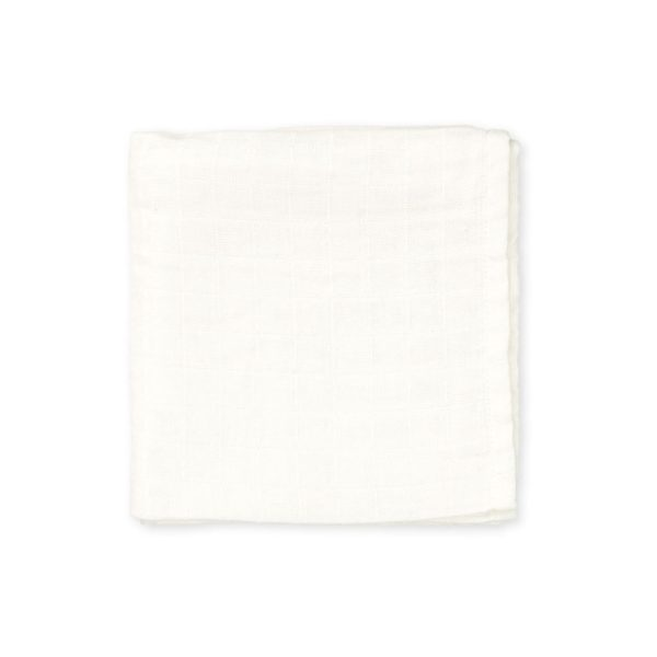 Organic cotton muslin baby swaddle creme white